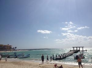 Pier at beach in front of El Taj