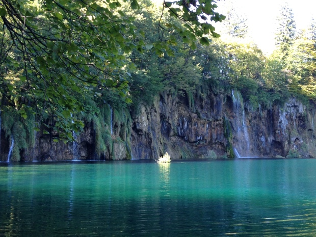 blue water and waterfalls at Plitvice