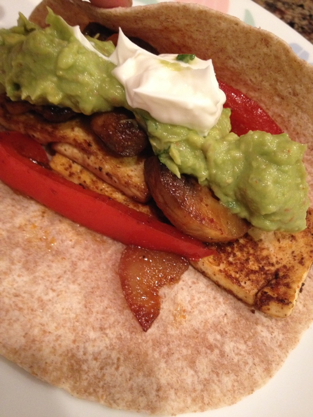 meal 1 - tofu fajitas with guacamole and sour cream