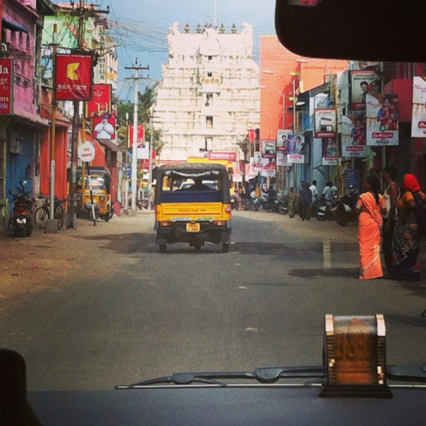 view of the temple at rameshwaram, from my car