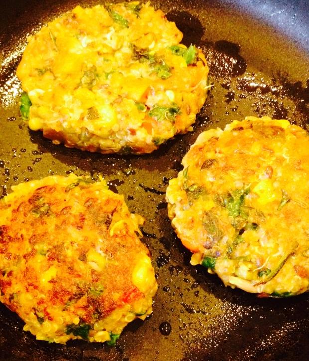 cooking my quinoa burger patties