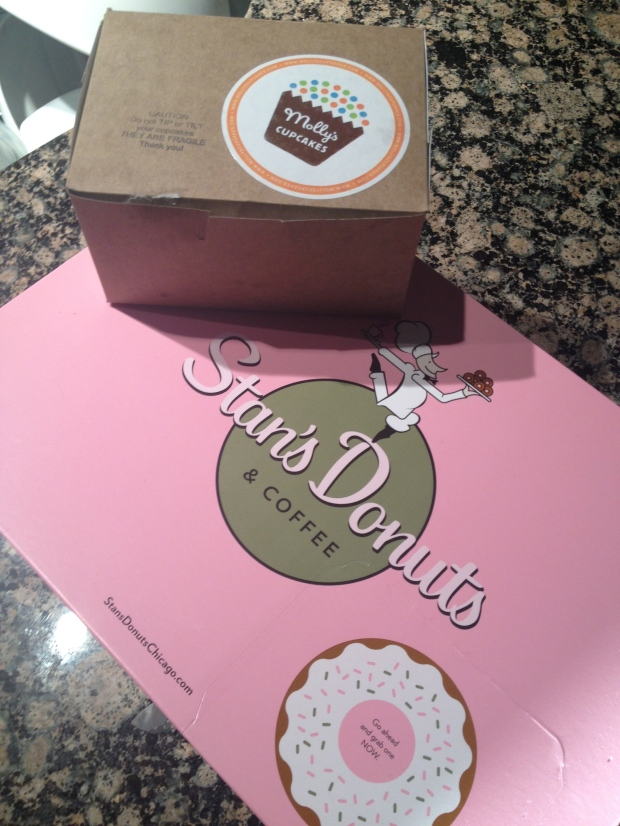 sweet bday treats - famous Stan's Donuts and Molly's Cupcakes