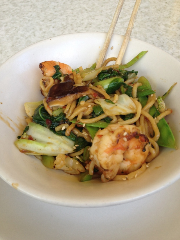 chili shrimp and noodles at True Food Kitchen